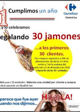 Carrefour regala 30 jamones